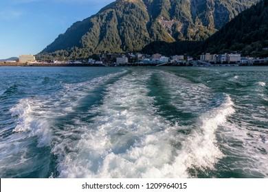 September 10 2018 Juneau Alaska. Wake of boat living Juneau harbor Alaska.