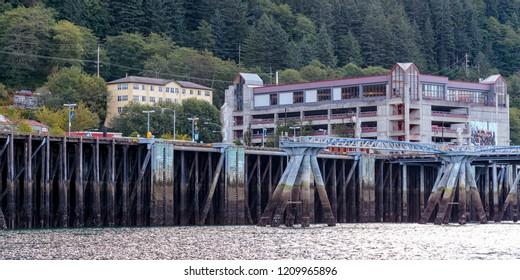 September 10 2018 Juneau Alaska. Wharf in Juneau harbor Alaska.