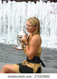 SEPTEMBER 10: US Open 2006 champion Maria Sharapova holds US Open trophy after her win the ladies singles final on September 10, 2006 in Flushing, New York