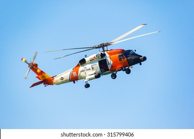 SEPTEMBER 11, 2015, WESTPORT, WA: A U.S. Coast Guard Sikorsky MH-60T Jayhawk patrols the airspace above Grays Harbor, on Washington's Pacific Coast. Editorial Use Only.