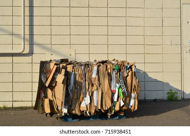 SEPTEMBER 11, 2017 - CHIPPEWA FALLS, WISCONSIN : Cardboard bundled for recycling in Chippewa Falls, Wisconsin on September 11, 2017
