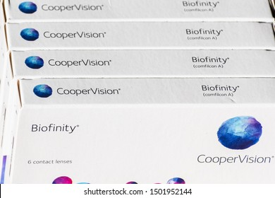 September 11, 2019 Sunnyvale / CA / USA - Close up of 4 boxes (one year supply) of Biofinity soft contact lenses, produced by CooperVision, a business unit of The Cooper Companies, Inc