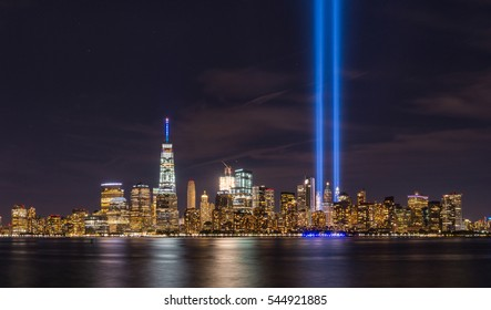 September 11th lights from Liberty State Park, New Jersey