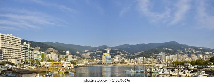 September 12, 2012 - Atami, Japan : The Panorama picture Of The Atami viewpoint from Atami Korakuen Hotel.