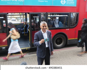 September 12, 2016 - Mayor of London Sadiq Khan launches his 'Hopper' bus fare allowing a free second bus journey in Tooting, South West London.