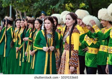 September, 12, 2017. Ashgabat, Turkmenistan: A group of dancers before the performance at the Kurban-Bairam Festival. September, 12, 2017. Ashgabat