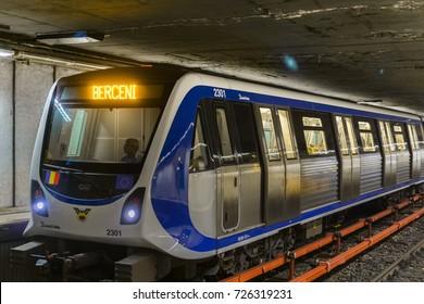 September 12, 2017 Bucharest, Romania - Train arriving at Piata Romana subway stop