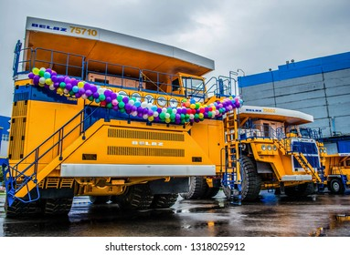 September 12, 2017 - Minsk, Belarus: BelAZ-75710, the world's largest mining two-axle all-wheel-drive dump truck with weight-carrying capacity of 450 metric tons