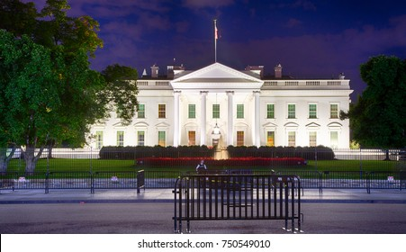 September 12, 2017, Washington, DC, USA: The White House at night during the Trump Administration.