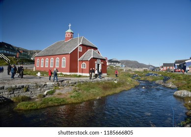 September 12, 2018, Qaqortoq, Greenland. Visitors Are Seen Visiting The Church Of Our Savior Lutheran Church Which Was Built In 1832 In Qaqortoq, Greenland.