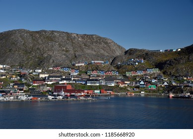September 12, 2018, Qaqortoq, Greenland. A Early Morning View Of The Village Of Qaqortoq, Greenland Which Lies Near The Southwestern Tip Of Greenland.