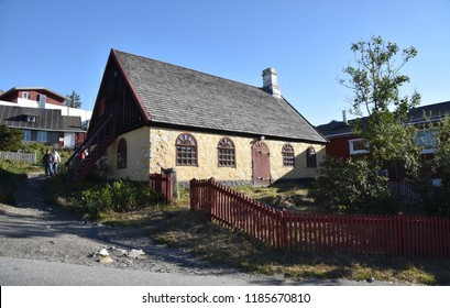 September 12, 2018, Qaqortoq, Greenland. A Unique 18th Century House Shines In The Morning Sun In The Greenland Village Of Qaqortoq, Greenland.