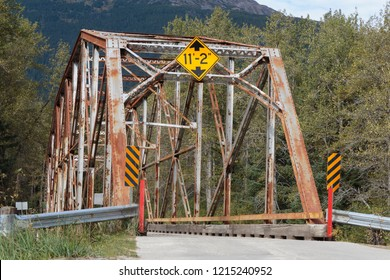 September 12 2018, Skagway Alaska. Old bridge over the Dyea river near the Klondike gold rush  historical  Park near Skagway Alaska