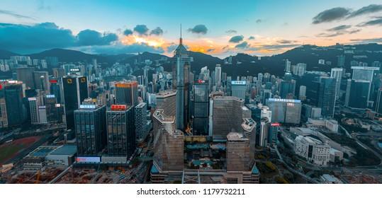 September 13, 2018 - Panorama aerial view of Hong Kong Wan Chai District.