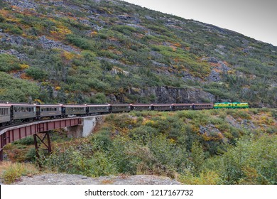 September 13 2018, Skagway Alaska. Historic white pass train of the gold rush in Skagway  Alaska