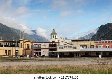 September 13 2018, Skagway Alaska.  Staion  of the Historic white pass train of the gold rush in Skagway  Alaska