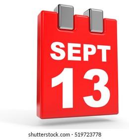 September 13. Calendar on white background. 3D illustration.
