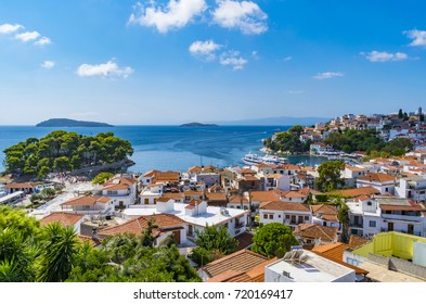 September 14, 2017, Skiathos town, Greece:Amazing view of Skiathos town in Greece with traditional houses