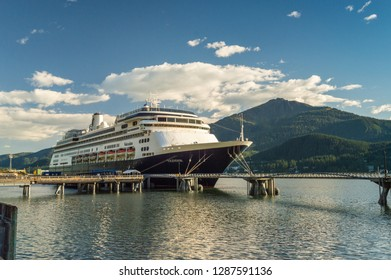 September 14, 2018 - Juneau, Alaska: The Volendam cruise ship docked in port in warm afternoon sunshine.