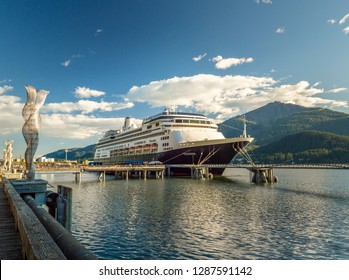 September 14, 2018 - Juneau, Alaska: The Volendam cruise ship docked in port alongside the city Seawalk.