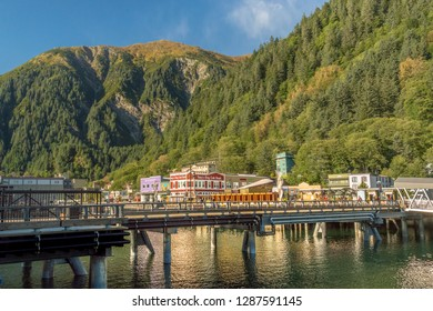September 14, 2018 - Juneau, Alaska: Waterfront businesses await the tourists in historic downtown near cruise ship pier in Juneau.