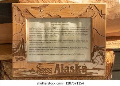 September 14, 2018 - Juneau, Alaska: Biography of local Tlingit artist Kaax Tseen, Herb Sheakley Jr, at Mount Roberts Tramway.