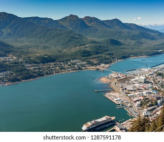 September 14, 2018 - Juneau, Alaska: Aerial view of cruise ship in Gastineau Channel, Douglas Island and Juneau from Mount Roberts Tramway.