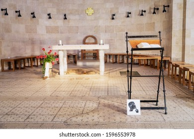 September 14, 2019. Tabgha, Israel. The Church of the Multiplication of the Loaves and Fish. Interior, details