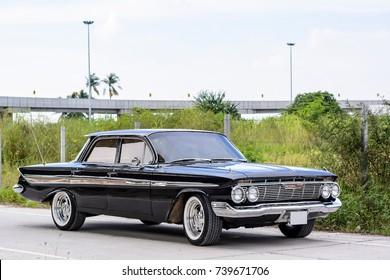 September 14,2017-Bangkok,Thailand-1961 Chevrolet Impala 4-Door Sedan black metallic