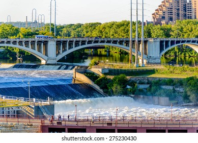 September 15, 2014 - Minneapolis, MN, USA:  river and bridge adjacent to downtown Minneapolis