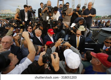 September 15, 2015, Donald Trump, 2016 Republican presidential candidate, speaks during a rally aboard the Battleship USS Iowa in San Pedro, Los Angeles, California