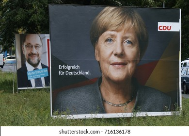 SEPTEMBER 15, 2017 - BERLIN: election posters of the German Chancellor Angela Merkel (CDU) and her challenger, Martin Schulz (SPD), in the upcoming elections, Berlin.