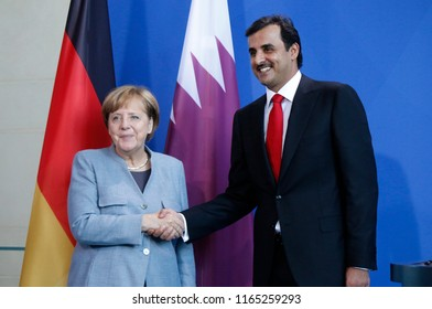 SEPTEMBER 15, 2017 - BERLIN: German Chancellor  Angela Merkel  and Sheik Tamim bin Hamad Al Thani (Emir of Quatar) at a press conference after a meeting in the Chanclery in Berlin.