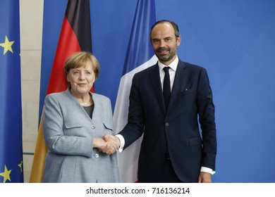 SEPTEMBER 15, 2017 - BERLIN: German Chancellor Angela Merkel and French Prime Minister Edouard Philippe at a press conference after a meeting in the Chanclery in Berlin.