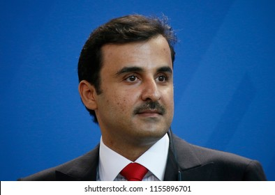 SEPTEMBER 15, 2017 - BERLIN: Sheik Tamim bin Hamad Al Thani (Emir of Qatar) at a press conference after a meeting with the German Chancellor in the Chanclery in Berlin.
