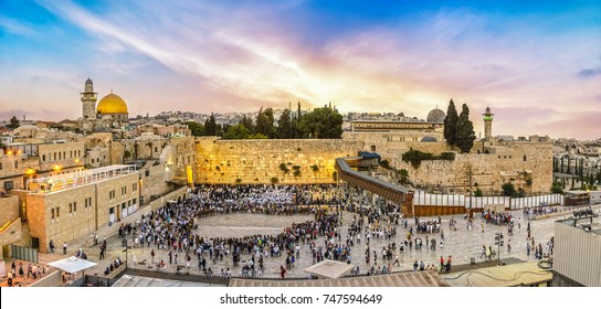 September 15, 2017 - Celebration at the western wall, Jerusalem old city at sunset, Israel.