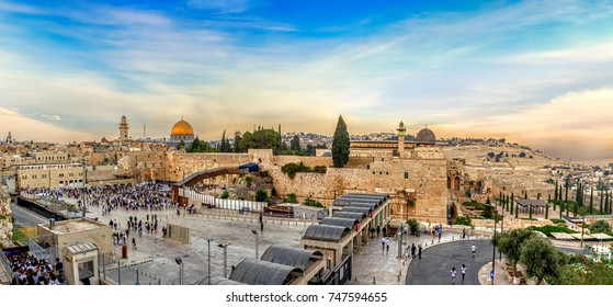 September 15, 2017 - View to the western wall and temple mount in the old city Jerusalem, Israel.