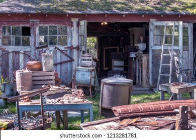 September 15, 2018 Michigan USA; old rustic barn sale with lots of wood and metal treasures, vintage and old finds!