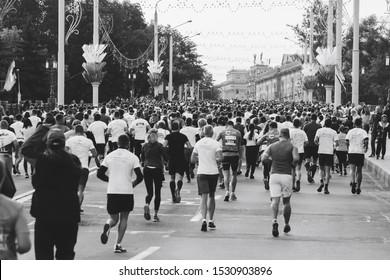September 15, 2018 Minsk Belarus Half Marathon Minsk 2019 Many people run a half marathon along the city road in black and white