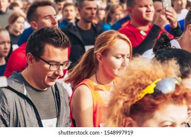 September 15, 2018 Minsk Belarus Half Marathon Minsk 2019 Marathon runners men and women run along the road half marathon close-up