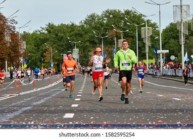 September 15, 2018 Minsk Belarus Half Marathon Minsk 2019 Men and women run the marathon to the finish line.