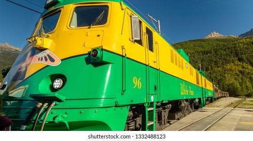 September 15, 2018 - Skagway, AK: Front of historic White Pass Railway Engine 96 tourist excursion train.
