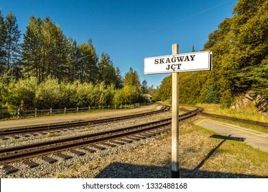 September 15, 2018 - Skagway, AK: Skagway Junction signpost along the White Pass and Yukon Route rail line.