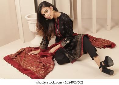 September 15, 2020: Beautiful Pakistani Women in Traditional embroidery shalwar kameez dress. Fashion Concept