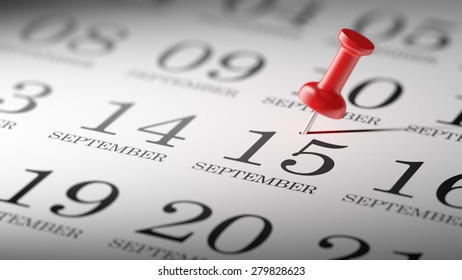 September 15 written on a calendar to remind you an important appointment.
