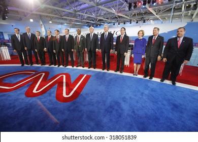September 16, 2015, Lindsay Graham, George Pataki, Rick Santorum, Rand Paul, Marco Rubio, Ted Cruz, Ben Carson, Donald Trump, Jeb Bush, Scott Walker, Carly Fiorina, Chris Christie, Simi Valley, CA.