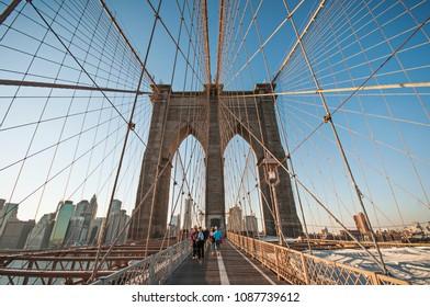 September 16 2017, People on Brooklyn Bridge and bridge construction in New York City, Usa