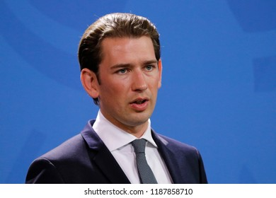 SEPTEMBER 16, 2018- BERLIN: Austrian Chnacellor Sebastian Kurz at a press conference after a meeting with the German Chancellor.