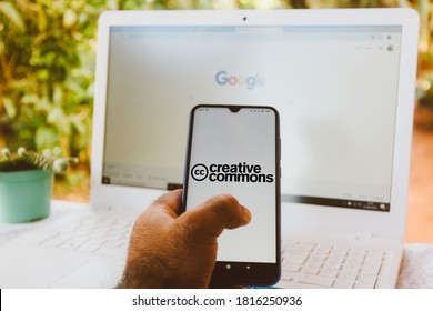 September 16, 2020, Brazil. In this photo illustration the Creative Commons logo seen displayed on a smartphone