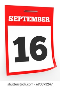 September 16. Calendar on white background. 3D illustration.